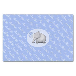 Personalized All-Over Name Cute Elephant Nursery Tissue Paper