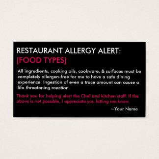 Personalized Allergy Restaurant & ICE Card - HP