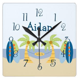 "Personalized ""Aloha Beach Baby Boy"" Nursery Clock"