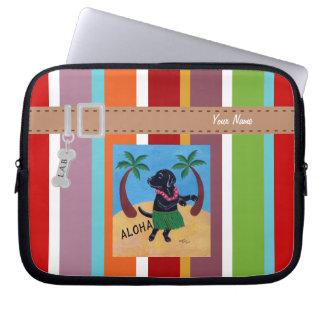 Personalized Aloha Black Labrador Stripe Laptop Sleeve