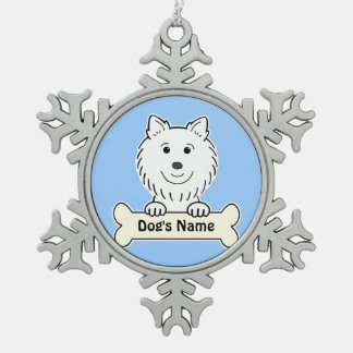 Personalized American Eskimo Snowflake Pewter Christmas Ornament