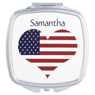 Personalized American Flag Heart Compact Mirror