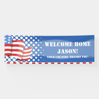 Personalized American Flag Military Banner
