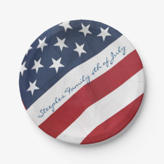 Personalized American Flag Paper Plates 7 Inch Paper Plate