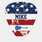 personalized american flag rock guitar music guitar pick