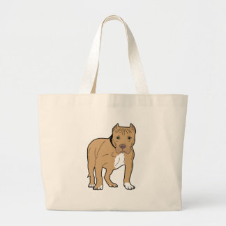 Personalized American Pitbull Dog Large Tote Bag