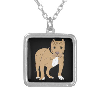 Personalized American Pitbull Dog Silver Plated Necklace