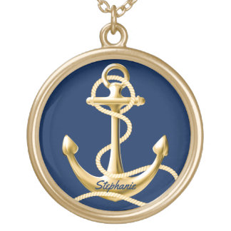 Personalized anchor necklace navy blue gold
