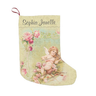 Personalized Angel playing Violin Roses Small Christmas Stocking