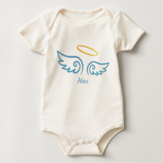 Personalized Angel Wings and Halo - Baby Blue Baby Bodysuit