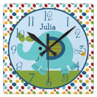 Personalized Animal Parade Elephant Nursery Clock Wallclock