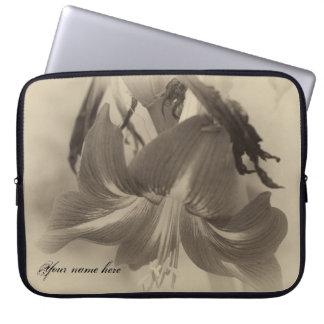 Personalized Antique Amaryllis Flower Laptop Sleeve