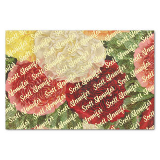 Personalized Antique Vintage Red White Pink Roses Tissue Paper