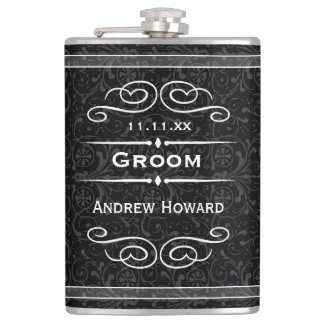 Personalized Any Color Vintage Groom Wedding Date Flasks