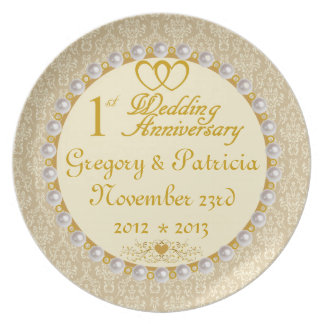 PERSONALIZED (ANY Name/Date) 1st Anniversary Plate