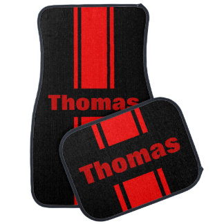 Personalized Any Name Red Racing Stripe Floor Mats