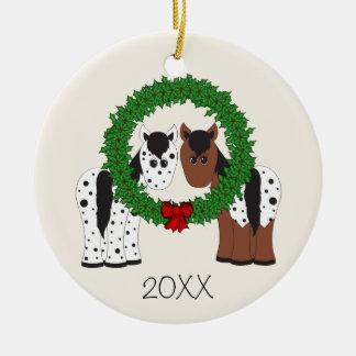 Personalized Appaloosa Horse Couple 1st Christmas Ceramic Ornament