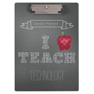 Personalized Apple Chalkboard I Teach Clipboard