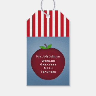 Personalized Apple Teacher Gift Tags Blue