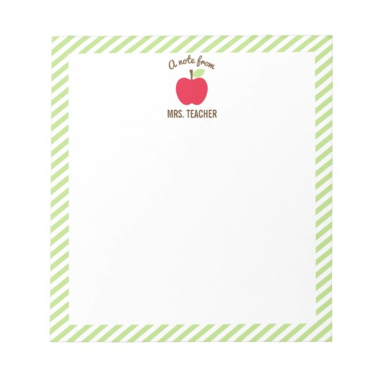 Personalized Apple Teacher Notepad, Green Notepad