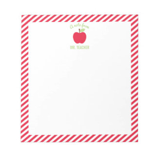Personalized Apple Teacher Notepad, Red Notepad