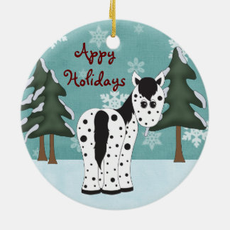 Personalized Appy Holidays Horse Ornament