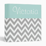 Personalized Aqua and Grey Binder