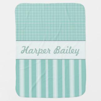 Personalized Aqua Baby Nursery Baby Blankets