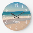 Personalized Aqua Beach Scene Large Clock