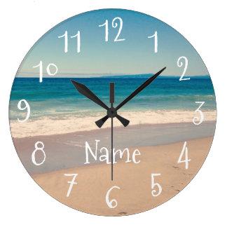 Personalized Aqua Beach Scene Large Clock