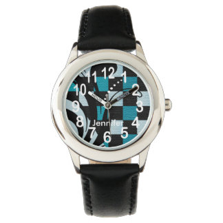 Personalized Aqua, Black and Turquoise Abstract Wristwatches
