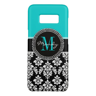 Personalized Aqua Black Damask Girly Monogram Case-Mate Samsung Galaxy S8 Case