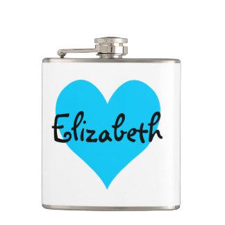 Personalized Aqua Blue Heart Hip Flask