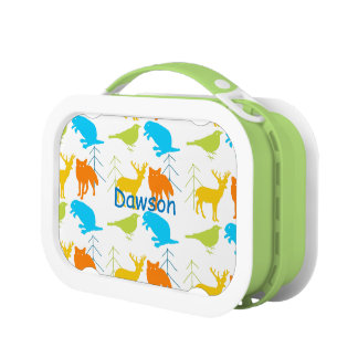 Personalized Aqua Blue Sneaky Fox Bicycle Lunch Box