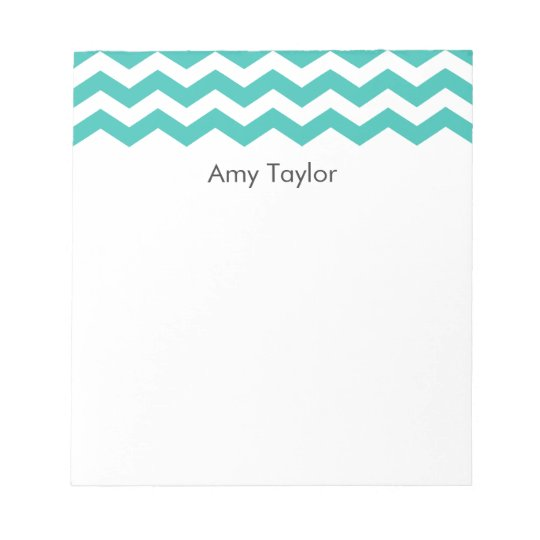 Personalized Aqua Chevron Stripes Notepad