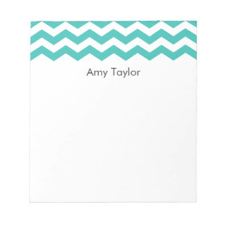 Personalized Aqua Chevron Stripes Notepads
