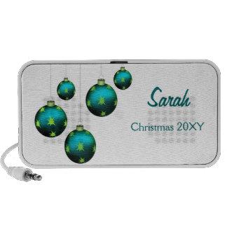 personalized aqua Christmas ornaments Speakers