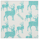 Personalized Aqua Deer with Abstract Pattern Fabric