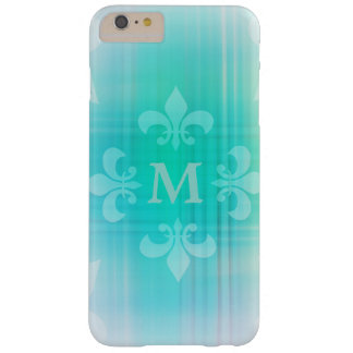 Personalized Aqua Fleur de Lis Monogram Barely There iPhone 6 Plus Case