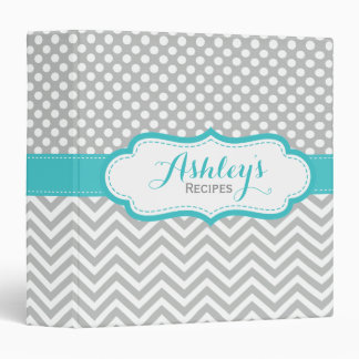Personalized Aqua Gray Chevron Polka Dots Recipe 3 Ring Binders