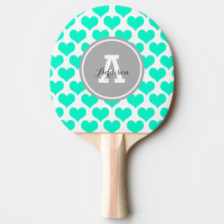 Personalized Aqua Hearts Ping Pong Paddle
