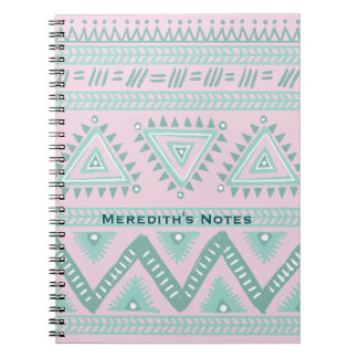 Personalized Aqua-Teal Tribal Pattern on Pink Spiral Notebook
