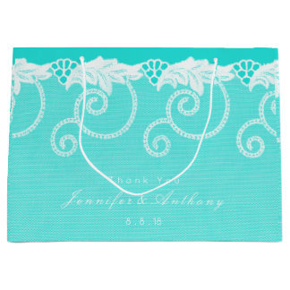 Personalized Aqua Tiffany Blue Ocean Royal Lace Large Gift Bag