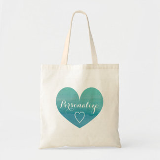 Personalized aqua water color heart tote bag