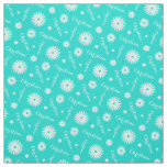 Personalized aqua white daisy name pattern fabric