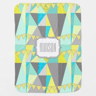 Personalized Aqua Yellow Gray Triangle Pattern Baby Blanket