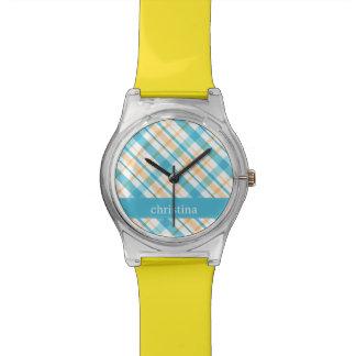 Personalized Aqua & Yellow Plaid Pattern Watch