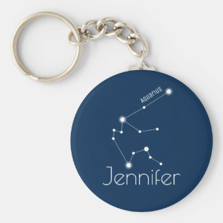 Personalized Aquarius Zodiac Constellation Keychain