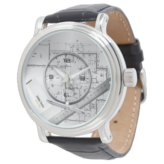 personalized architect plans leather watch