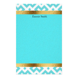 Personalized Arctic Blue Cyan and Gold Stationery